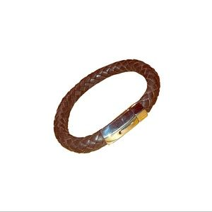 Unisex brown Leather braided cord bracelet